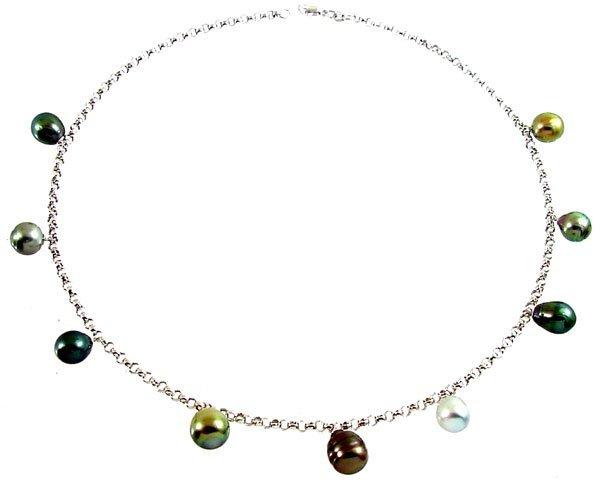 11: 14K  WG 8/11 Tahitian 9 pearl dangle rolo necklace