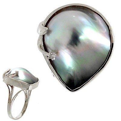 13:14 KT WG Tahitian mabé pearl freeform diamond ring