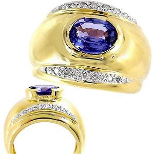 14: 14KT YG  1.63 ct Ceylon Sapphire oval .12diam  ring