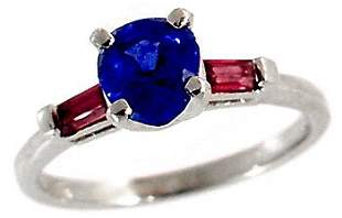 14Kt WG 1.11ct Sapphire Pear .32ruby solitaire ring