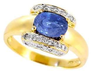 14Kt 1.54ct Ceylon Sapphire oval .13ct diamond ring