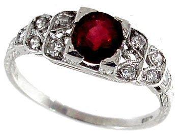 17: Platinum .82ct Pigeon Blood Ruby Diamond Ring