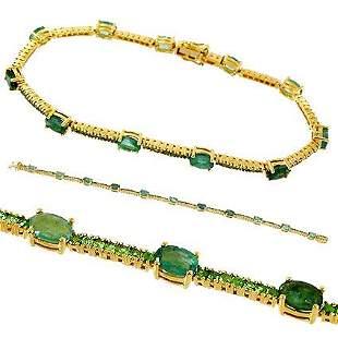 14Kt YG 5ct Emerald Oval Tsavorite Garnet bracelet