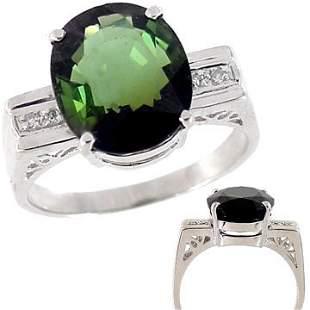14Kt WG 6.86ct Green Tourmaline diamond square ring