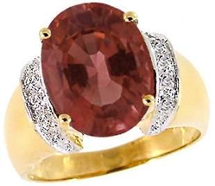 14Kt YG 6.41ct Burgundy Tourmaline oval diamond ring