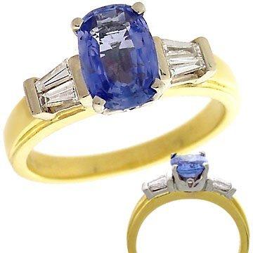 142: 18kt 2.06ct Blue SAPPHIRE & Diamond Bagg Estate Ri
