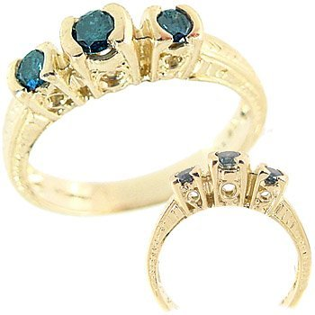 1006: .39cttw Blue Diamond 3 stone band ring
