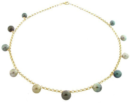 1013: 8/10.5mm Tahitian 11 pearl dangle necklace