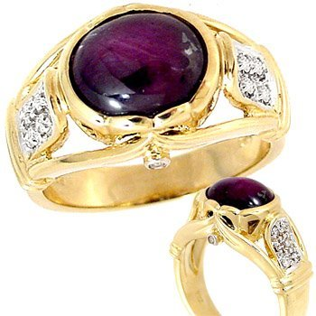 1022: 6ct STar Ruby Cabachon .15ct diamond ring