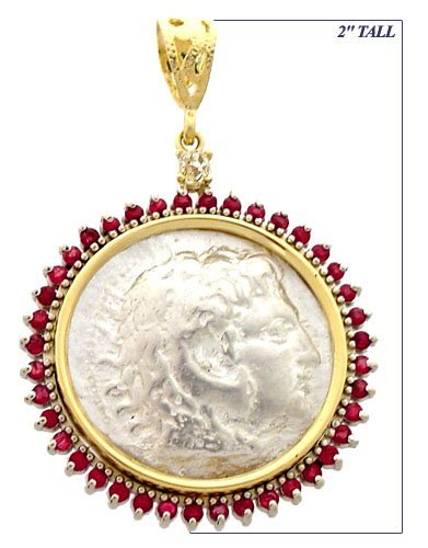 1024: Alexander the Great Coin Ruby & Diamond Pendant