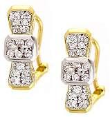 1071: 18YG .51ct SI G/H diamond bow omega earring