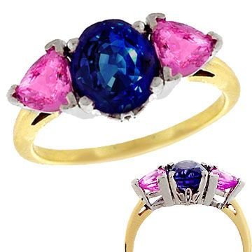 1001: 14kt PPF 3.6ctw Blue/Pink Sapphire Ring Appr:2367