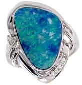 1185: WG 3.75ct Boulder opal bezel diamond ring