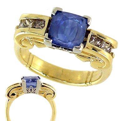 2003: 3.2ct Ceylon Blue Sapphire .60dia ionic ring