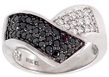 2005: WG .50ctw Black Diamond Dia chevron band ring