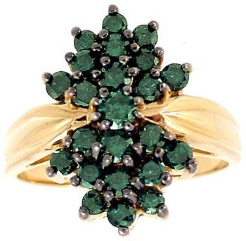 2006: 1cttw Teal Green Diamond cluster ring