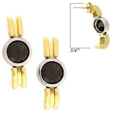 2007: 18KY 2ct black diamond bezel stud earrings