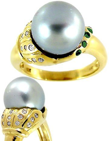 2008: 11mm Tahitian Pearl .20 blue white dia lily Ring