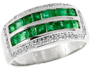 2015: WG 1ct Emerald princess .16dia channel ring