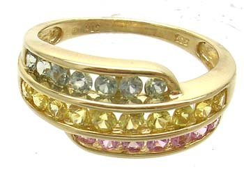 1380: 14KY 2cttw Pink Yellow Green Sapphire 3row ring
