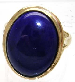 1382: 14KY 14x9mm Lapis Cabachon Bezel ring