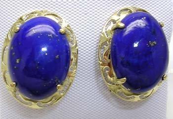 1383: 14KY 12x16mm Lapis Oval Fancy Earring