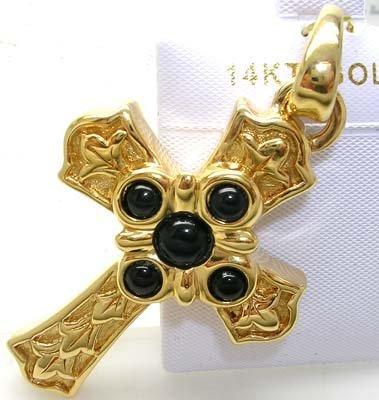 1386: 14KY Gold Cross 5 Sapphire Italian Pendant