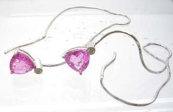 1388: 14KW 2.07ct Pink Sapphire Diamond Earstring Earri