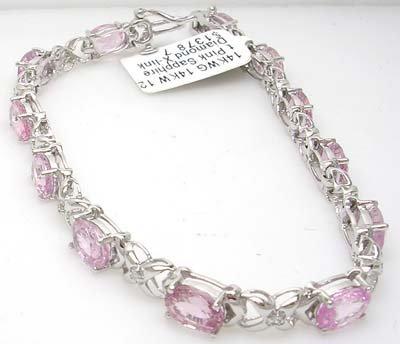 1389: 14KW 12.1ct Pink Sapphire Diamond X-link Bracelet