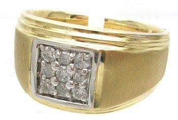 1390: 10KY .33cttw Diamond Round Square Mens Ring