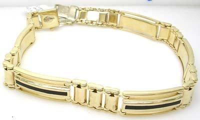 1392: 14KY Onyx Fancy Designer Mens Bracelet 30.4grams