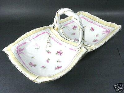 1398: Double Handkerchief Porcelain Trug Basket KPM