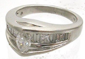 1488: Platinum 950 .90ctw Marquise Diamond Ring S-6 11g