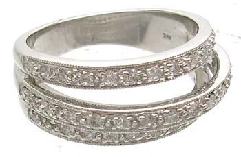1652: 14KW .50ct Diamond Round 3-Row Antique Style Ring