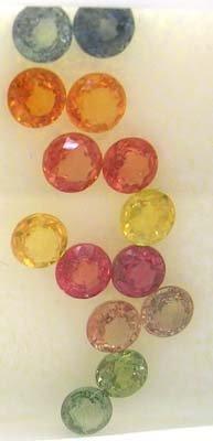 1654: 5+ ct Mix Sapphire Round Parcel 14 pieces
