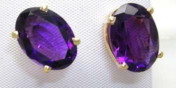 1657: 14KY 9cttw Amethyst Oval stud Earrings