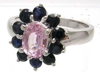 1664: 14KW 1.05ct Pink Sapphire 1.26 Blue Sapp Ring