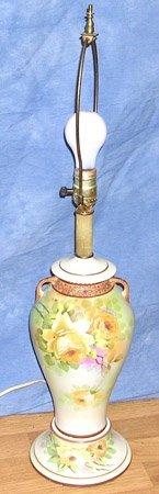 10004: Beautiful Nippon Hand Painted Porcelain Lamp