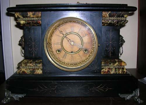 10010: RARE NEW HAVEN ANTIQUE BLACK MANTLE CLOCK BEAUTI