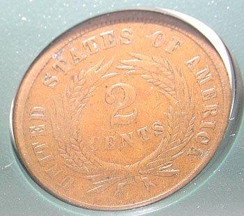 10014: 1864 Two Cent Piece ERROR Estate Coin