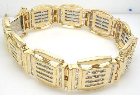 10016: 10KY 5cttw Diamond bagguette Channel Mens Bracel