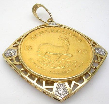 10017: 22KY 1980 Krugerrand Gold/ Diamond Pendant 45 GR