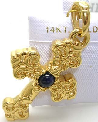 1825: 14KY Gold Cross wirh Round Sapphire Italian Penda