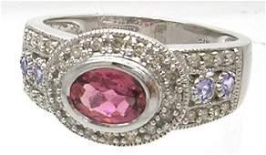 1839: 14kw 1ct Pink Sapphire Tanz .50 Diamond Ring
