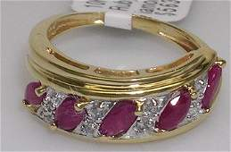 1856: 10KY 1ct Ruby Marquise Diamond band