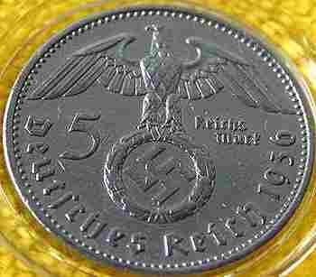 1967: 1936 silver 5 Reichsmark Coin