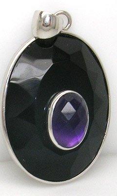 2378: SS Black Onyx 4ctct checker-cut amethyst pendant