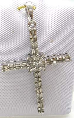 2383: 10KW .50ct Diamond 1.25 inch Cross Pendant