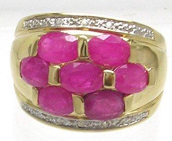 2385: 14KY 2ct Ruby Oval Diamond Ring