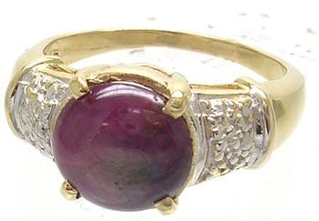 2386: 14KY 3.1ct Star Ruby Round Ring